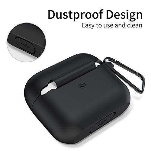 Ztotop Case for New AirPods Pro Case 2019, Visible Front LED/Soft Silicone/Shock & Scratch-Resistant, Durable Protective Cover with Hinge for AirPods Pro Charging 2019 Case 3rd Gen, Black