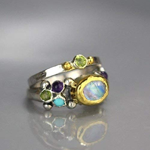 Handcrafted Rainbow Moonstone Peridot Amethyst Turquoise Engagement Ring and Delicate Wedding Band Set in Sterling Silver 22K Gold ()