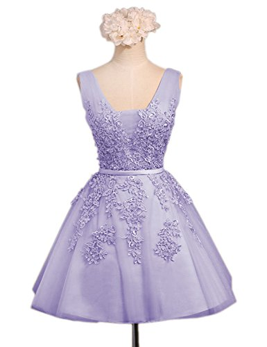 Womens V Neck Short Homecoming Dresses 2018 Beading Lace Prom Gowns Size 4 ()