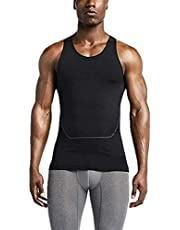 SANKE Mens Athletic Workout Compression Sleeveless Shirt Base Layer Quick Dry Slimming Breathable Tight Tank Top
