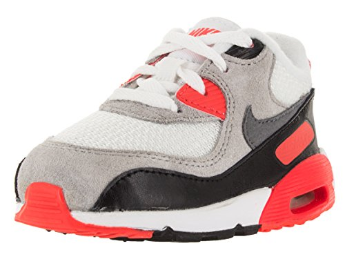 Nike Air Max 90 Premium Mesh Infrared Toddler White/Neutral Grey/Black/Cool Grey/Bright Red (Nike Air Max 90 Red And Grey)