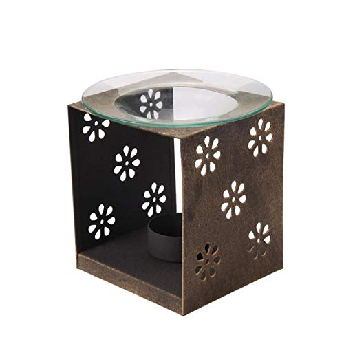 Genteltimes Gift & Decor Iron Candle Holder with Glass Dish Incense Oil Burner Lamp Fragrant Oil Warmer Candle Aroma