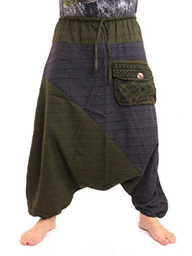 jing shop Baggy Harem Pants Two Tone Hippie Boho Chic Blue Green