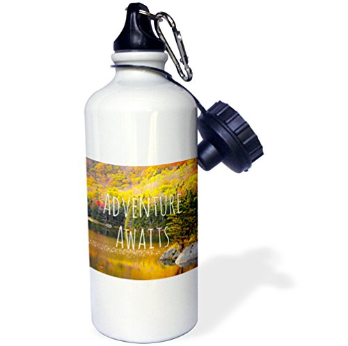 3dRose wb_151389_1 ''Adventure Awaits-Life Inspiring Motivational words-autumn forest lake photography-quotation'' Sports Water Bottle, 21 oz, White by 3dRose