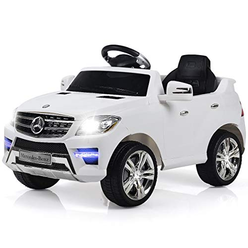 Costzon Ride On Car, Licensed Mercedes Benz ML350 6V Electric 2WD Battery Powered Kids Vehicle, Parental Remote Control & Manual Modes Car with Microphone, Lights, MP3, USB, TF, Music, Horn - Electric Car