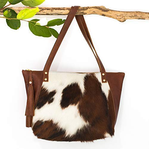 e335acb8de9 Image Unavailable. Image not available for. Color: Elsey Tote - Cowhide  Tote Bag - Brown & White Hair on Cowhide Purse
