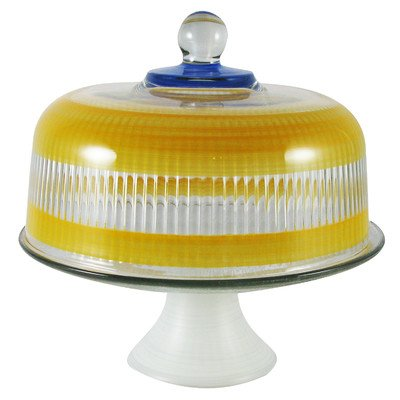 Golden Hill Studio Cake Dome Hand Painted in the USA by American Artists-Retro Cottage Stripe Orange Collection