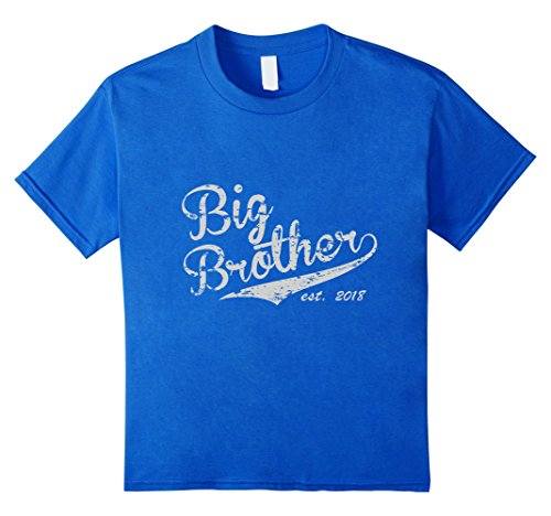 unisex-child Big Brother Est. 2018 Vintage Style Tee - Adult & Youth Size 8 Royal - Est Girl