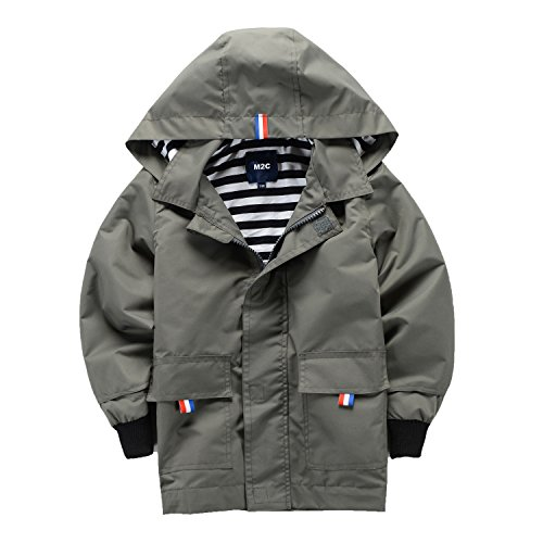 M2C Boys Raincoat Hooded Jacket Outdoor Light Windbreaker 4T Gray