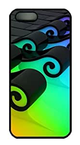 3D Colorful waves 2 most protective iphone 5 case PC Black for Apple iPhone 5/5S