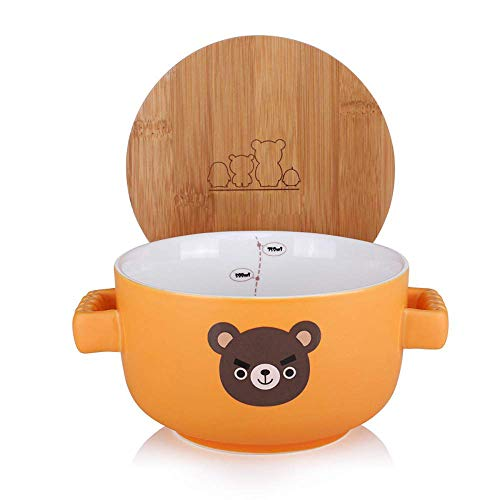 Cute Cartoon Microwave Ceramic Soup Bowls Instant Noodle Bowl Cereal Bowl for Salad Fruit Travel Mug with Bamboo Lid Large Noodle Bowl 0.75L,Red