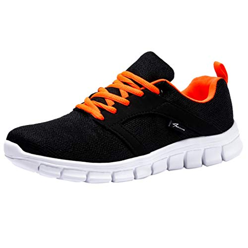 Women's Athletic Sneakers,WANQUIY Mesh Breathable Sneakers Training Running Shoes Sports Shoes Soft Shoes Orange