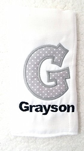 Burp Cloth for Babies, 100% Organic Cotton, Embroidered with Personalized Monogrammed Name & Initial, Extra Large 20