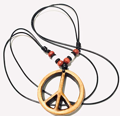 Nove Jewelry Leather Peace Sign Necklace - Peace Symbol Necklace - Resin Peace Sign Pendant - Adjustable Black Cord (Brown 2)