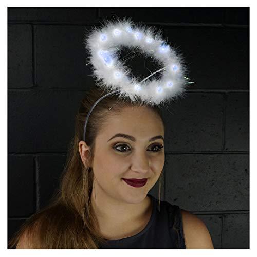 (Light Up Angel Halo Headband - White Feather LED Christmas Costume Hair Accessory)