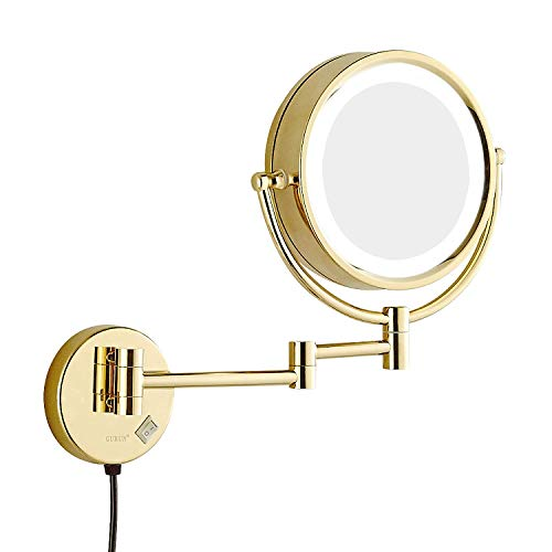 Sanliv 8.5 Inch LED Lighted Wall Mount Makeup Mirror, Double Sided Vanity Shaving Mirror with 7x Magnification in Gold Finish