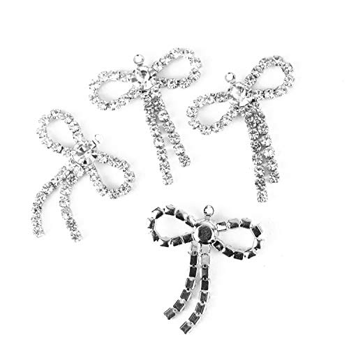 Monrocco 10PCS 27x23MM Clear Round Rhinestones Diamond Buttons Bow-Knot Shaped Decorative Beads DIY Craft Embellishment ()