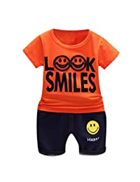 Lavany 2pcs Baby Boys Girl Clothes Set Short Sleeve Smile Shirt+Denim Shorts Outfits