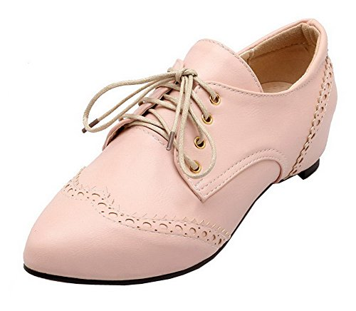 VogueZone009 Women's Lace-up Closed-Toe Low-Heels PU Solid Pumps-Shoes Pink 68nwfPIIh