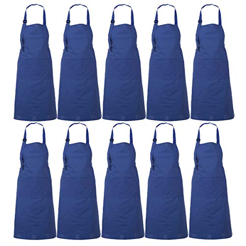RAJRANG BRINGING RAJASTHAN TO YOU Apron Wholesale Lot of 10 - Professional Restaurant Cooking Chef Aprons for Women - Navy Blue - 35 x 27 Inches