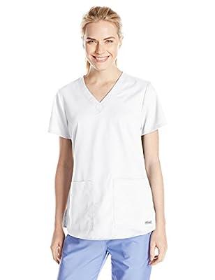 Grey's Anatomy Women's Two Pocket V-Neck Scrub Top with Shirring Back