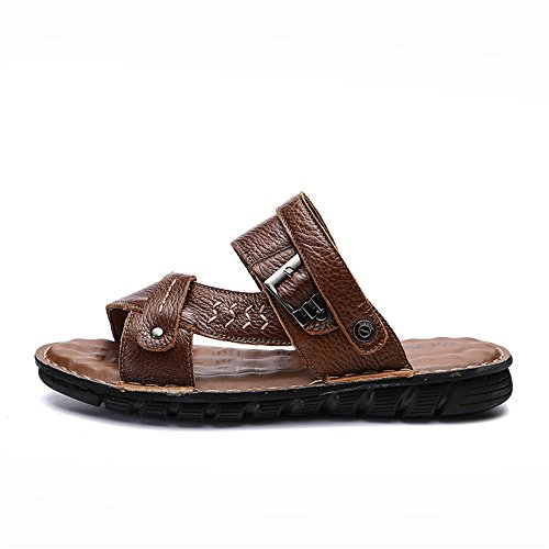 Sandals Open Beach Sports Casual Men's Shoes CNBEAU Outdoor Brown Non Slip Sandals Backless Leather Toe Summer Slides Adjustable EvPCq