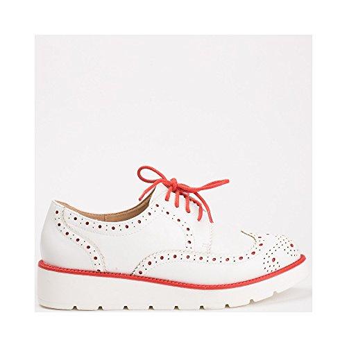 Ideal Shoes, Damen Schnürhalbschuhe Rot