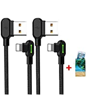 (2 Pack + iPhone Bag) USB 90 Degree Right Angle Design Gaming iPhone LED Nylon Braided Sync Charge New USB Reversible Data 6FT/1.8M Cable Compatible iPhone/iPad Pro/Air,iPad Mini,iPod (6FT Black)