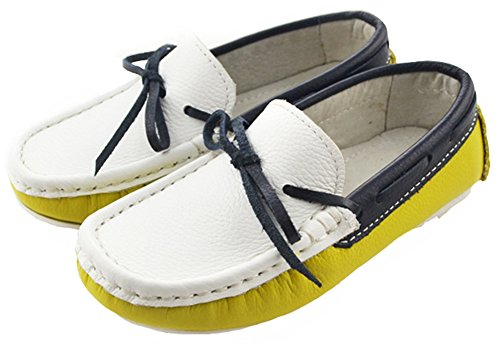 IDIFU Boy's Girl's Unisex Bow Slip On Flat Leather Loafers Soft Bottom Low Top Sandals Yellow 4.5 M US Big Kid