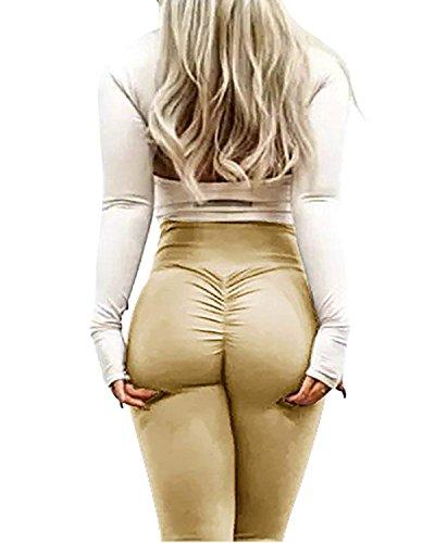 Yoga Gym Haute Elasticite Minetom Skinny Femme Taille Kaki Running Legging Fitness Sports Pantalon Ruché Respirant 8avIaxPqZ