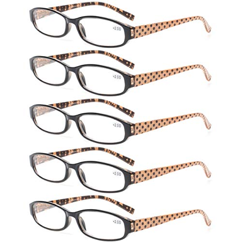 Reading Glasses Comb Pack of Multiple Men and Women Readers Spring Hinge Glasses (5 Pack Brown, 3.50)