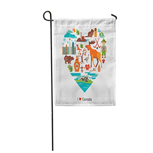 Semtomn Garden Flag 12x18 Inches Print On Two Side Polyester Toronto Canada Love Heart with Many and Travel Mountain Vancouver Moose Syrup Be Home Yard Farm Fade Resistant Outdoor House Decor Flag ()