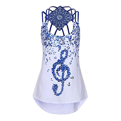 DaySeventh Summer Deals 2019 ! Ladies' Bandages Sleeveless Vest Top Musical Notes Print Strappy Tank Tops ()