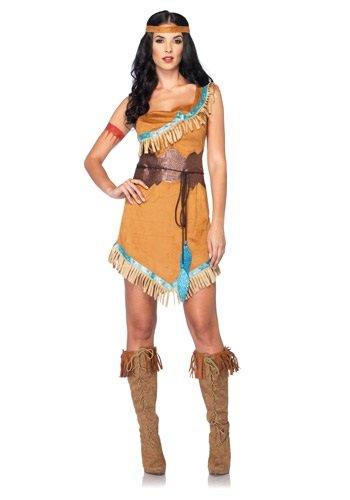 [Leg Avenue Disney 3Pc. Pocahontas Costume Includes Dress Belt and Headband, Tan, Medium/Large] (Pocahontas Costumes For Adults)