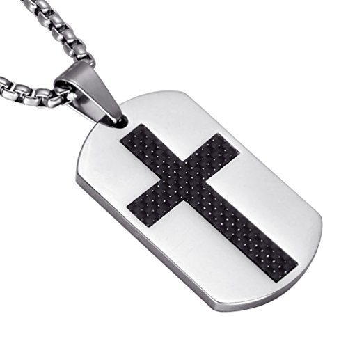 Rinspyre Men's Stainless Steel Carbon Fiber Inlay Dog Tag Pendant Christian Cross Chain Necklace Silver ()