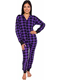 Plaid One Piece Pajamas - Unisex Adult Union Suit Pajamas with Drop Seat 3ef03c951
