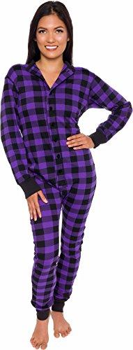 Silver Lilly Plaid One Piece Pajamas - Unisex Adult Union Suit Pajamas with Drop Seat (Purple/Black, Large)