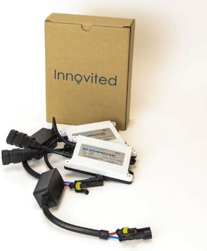 Innovited 55W AC HID bundle with Diamond White 1 Pair 1 Pair Slim Ballast and Xenon bulb H11 H9 H8 6000K