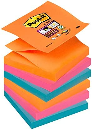 Post-it R3306SMI Haftnotiz Super Sticky Z-Notes, 6 Blöcke, 90 Blatt, 76 x 76 mm, türkis/neongrün/mohnrot