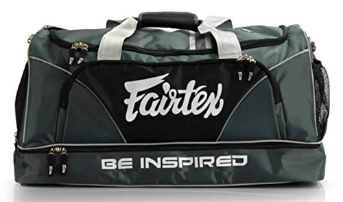 - Fairtex Gym Bag Gear Equipment Color Blue or Gray or Yellow for Muay Thai, Boxing, Kickboxing, MMA (Gray)