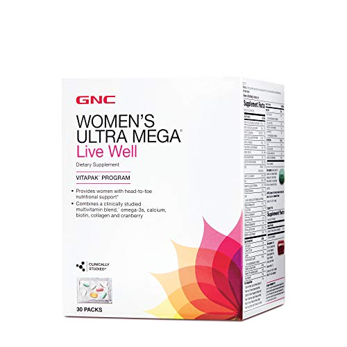 GNC Women's Ultra Mega Live Well Vitapak, 30 Packs, Contains Omega-3, Calcium, Biotin, Collagen and Cranberry for…