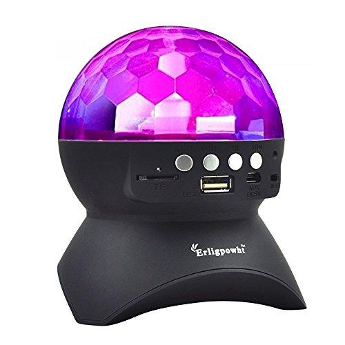 Erligpowht Stage Lights, Rotating Magic Effect Disco Ball Light with Wireless Bluetooth Speaker Mini Card Slot Rotating For (Disco Light Bluetooth Speaker)