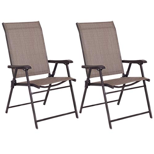 Economical Stacking Chairs - Tangkula 2 Pcs Outdoor Patio Chair Space Saving Stackable Portable Steel Frame Lawn Poolside Backyard Folding Chairs with Armrest & Footrest Commercial Party Home Use Modern Sling Chairs