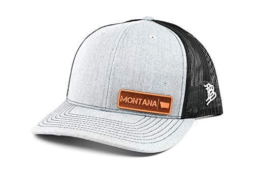 - Branded Bills 'Montana Native' Leather Patch Hat Heather Grey