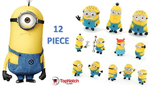 TopNotch Outlet Minion Figurines - Despicable Me Figurines (12 Pc) They are Cute Fun Cool and Will Make The Minions Cosplay - Minion Figures]()