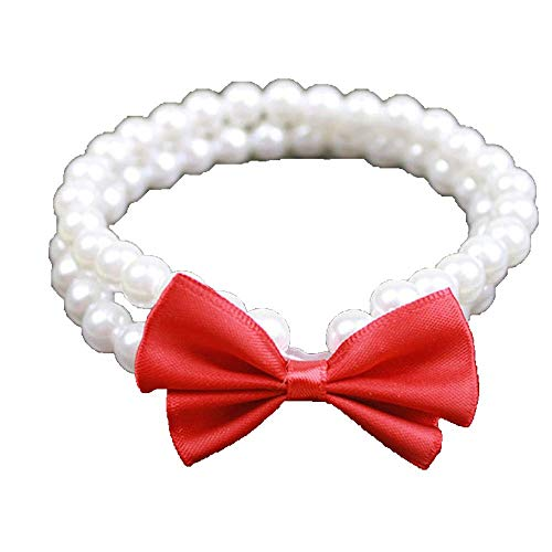 Graceful Double Rows - Pet Adjustable Necklace Simple Double Row Pearl Small Dog Collar Dog Collar Accessories (White) (Color : -, Size : -)