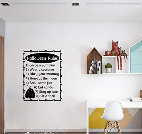 Wall Sticker Halloween Rules Words Letters Fall Halloween Decor Art PVC 56x74cm -