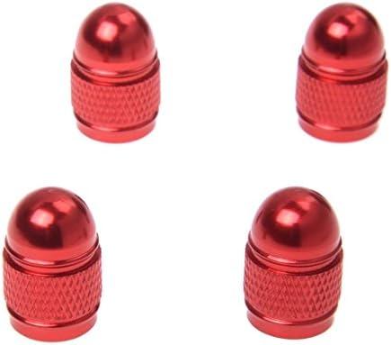 REFURBISHHOUSE 4x新しいバルブキャップ タイヤ圧力キャップ ホイールカバー ダストゼローロッド オートカーの為 赤