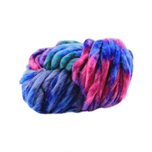 Sacow Chunky Yarn, Gradient Rainbow Soft Bulky Roving Wool Yarn Worsted Natural Silk Yarn Hand-Woven Yarn Kaleidoscope Yarn (I) (Best Yarn For Arm Knitting Infinity Scarf)