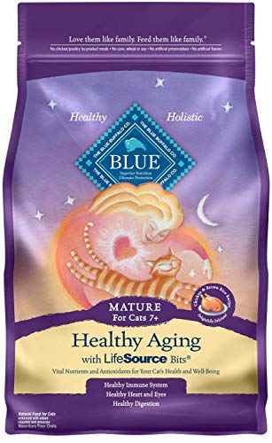 Blue Buffalo Healthy Aging Natural Mature Dry Cat Food, Chicken & Brown Rice 7-lb